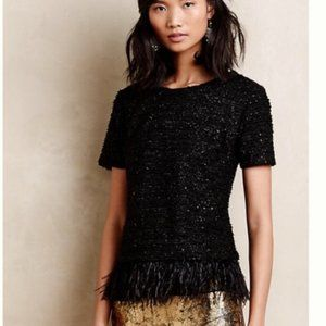 Anthropologie Deletta Sequin Feather Boucle Top
